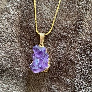 Jewelry - Amethyst crystal gold chain necklace💜